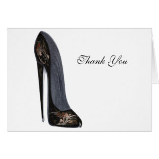 Black and Copper Stiletto Shoe Art Gifts Card
