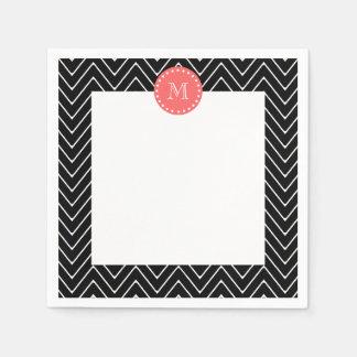 Black and Coral Chevron with Custom Monogram Paper Napkin