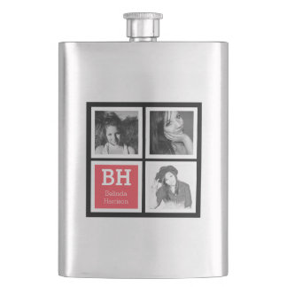 Black and Coral Custom Instagram Photo Personalize Flasks