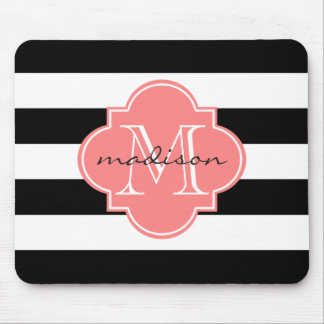 Black and Coral Nautical Stripes Custom Monogram Mouse Pad