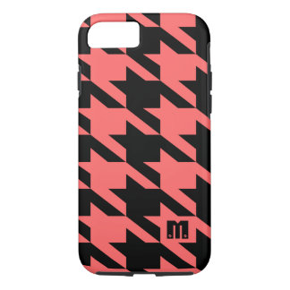 Black And Coral-Red Houndstooth Geometric Pattern iPhone 7 Case