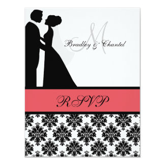 """Black and Coral Wedding Couple RSVP Card 4.25"""" X 5.5"""" Invitation Card"""