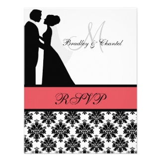 Black and Coral Wedding Couple RSVP Card Personalized Announcement