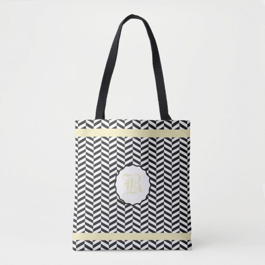 Black and Corn Fields Yellow Herringbone Monogram Tote Bag