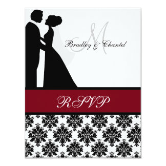 """Black and Cranberry Wedding Couple RSVP Card 4.25"""" X 5.5"""" Invitation Card"""