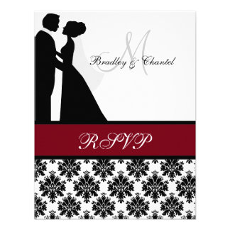 Black and Cranberry Wedding Couple RSVP Card Personalized Announcements