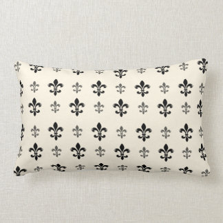 Black and Cream Elegant Fleur de Lis Lumbar Pillow