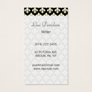 Black and cream fleur de lis business card
