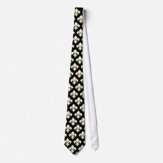Black and cream fleur de lis tie