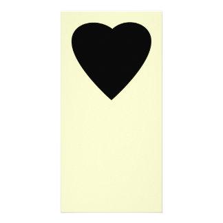 Black and Cream Love Heart Design Photo Card