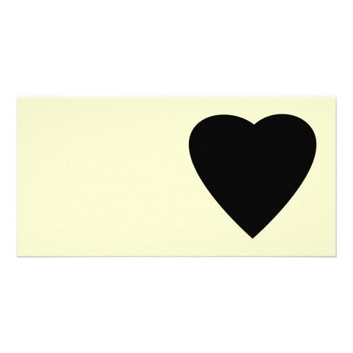 Black and Cream Love Heart Design. Customized Photo Card