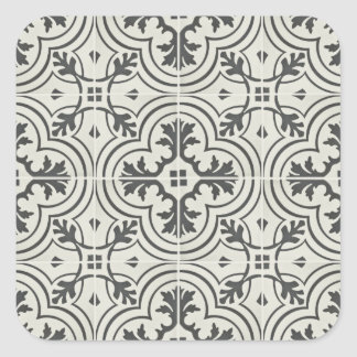 black and cream ornate floor pattern texture square sticker