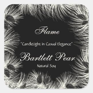 Black and Cream Pine Tree Border Candle Label