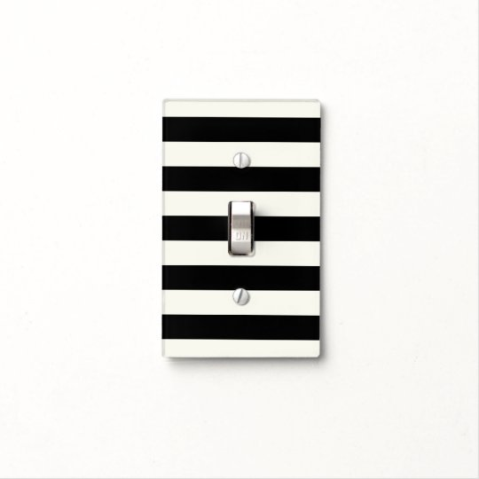 Black and Cream Thin Striped Light Switch Cover