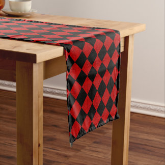 Black and crimson red diamond chequered pattern short table runner