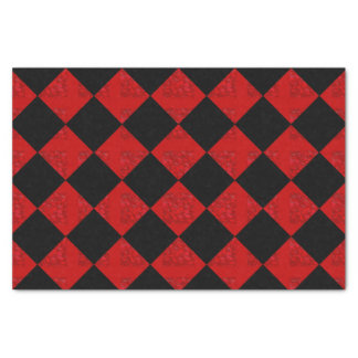 Black and crimson red diamond chequered pattern tissue paper