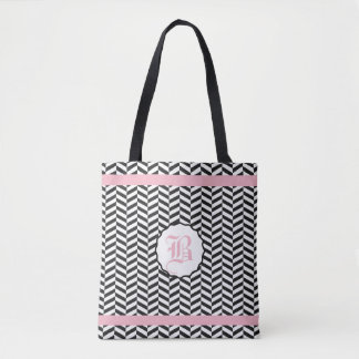 Black and Cupid Pink Herringbone Monogram Tote Bag