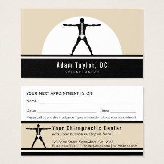 Black and Custom Beige Vitruvian Man Chiropractor Business Card
