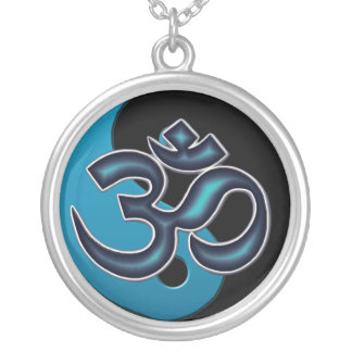 Black and Cyan Blue Yin-Yang OM-Symbol Necklace