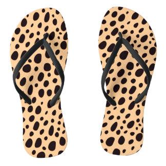 Black And Dark Beige Leopard Flip Flops