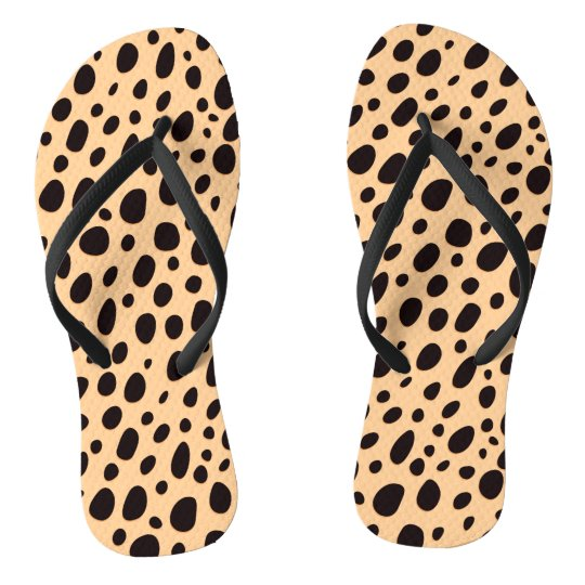 Black And Dark Beige Leopard Flip Flops