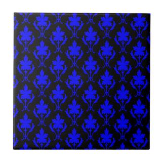 Black And Dark Blue Ornate Wallpaper Pattern Ceramic Tiles