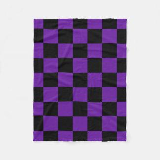 Black and Dark Purple Square Pattern Fleece Blanket