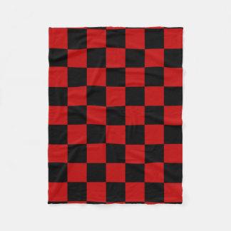 Black and Dark Red Square Pattern Fleece Blanket
