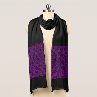 Black and Deep Purple Lace Scarf