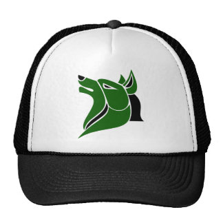 Black and Dk Green Solid Wolf Head Trucker Hat