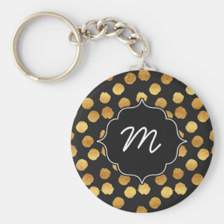 Black and Faux Gold Big Dots Basic Round Button Keychain