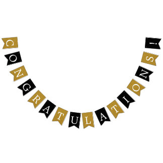Black and Faux Gold Congratulations Banner