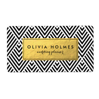 Black and Faux Gold Foil Chevron Label Shipping Label