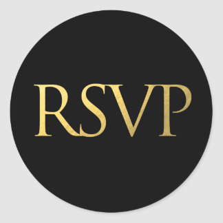 Black and Faux Gold Foil RSVP Classic Round Sticker
