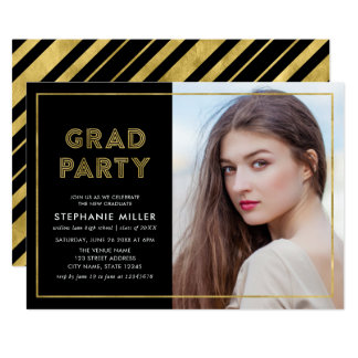 Black and Faux Gold Geometric Photo Grad Party Card