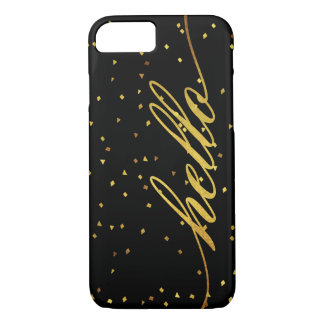 Black and Faux Gold Hello Glitter iPhone 7 Case