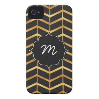 Black and Faux Gold Herringbone iPhone 4 Case-Mate Cases