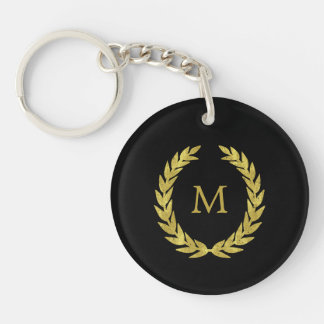 Black and Faux Gold Laurel Wreath with Monogram Keychain