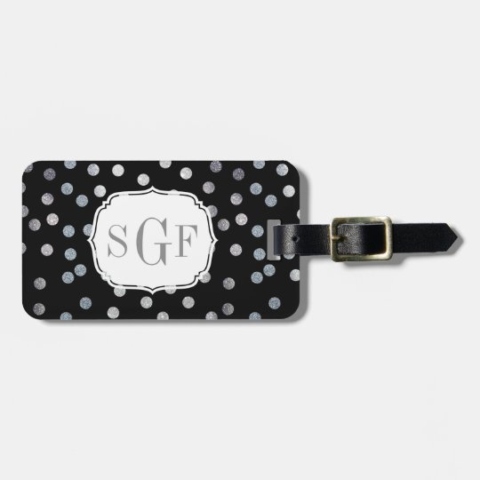 Black and Faux Silver Glitter City Dots Monogram Luggage Tag