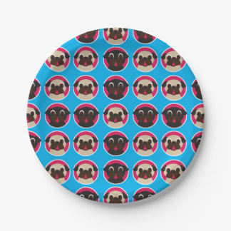 Black and Fawn Pug Heads in Circles Party Plates 7 Inch Paper Plate