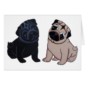 Black and Fawn Pug Puppies Greeting Cards