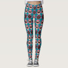 Black and Fawn Pugs in Circles Pattern Leggings