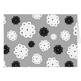 black and FLOWIE white pattern postcard
