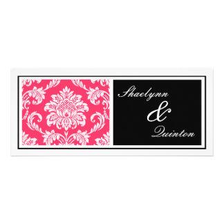 Black and Fuchsia Damask Wedding Invitation