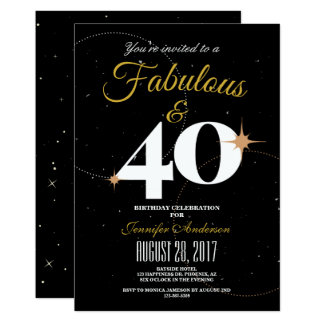 Black and Gold | 40 & Fabulous Birthday Invitation