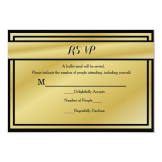 Black And Gold 50th Anniversary RSVP for Buffet Card