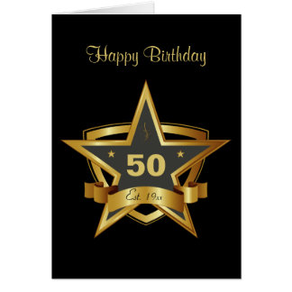 Black and Gold 50th Birthday Star Greeting Card