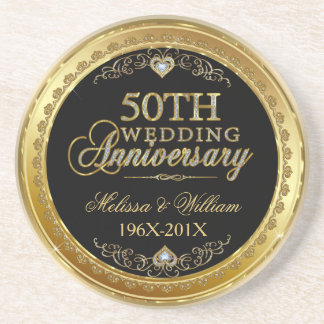Black And Gold 50th Wedding Anniversary Design Coasters