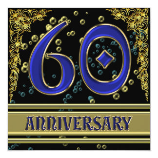 Black and Gold 60th Anniversary party Card