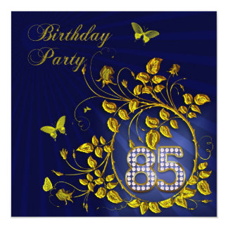 """Black and Gold 85th Birthday party 5.25"""" Square Invitation Card"""